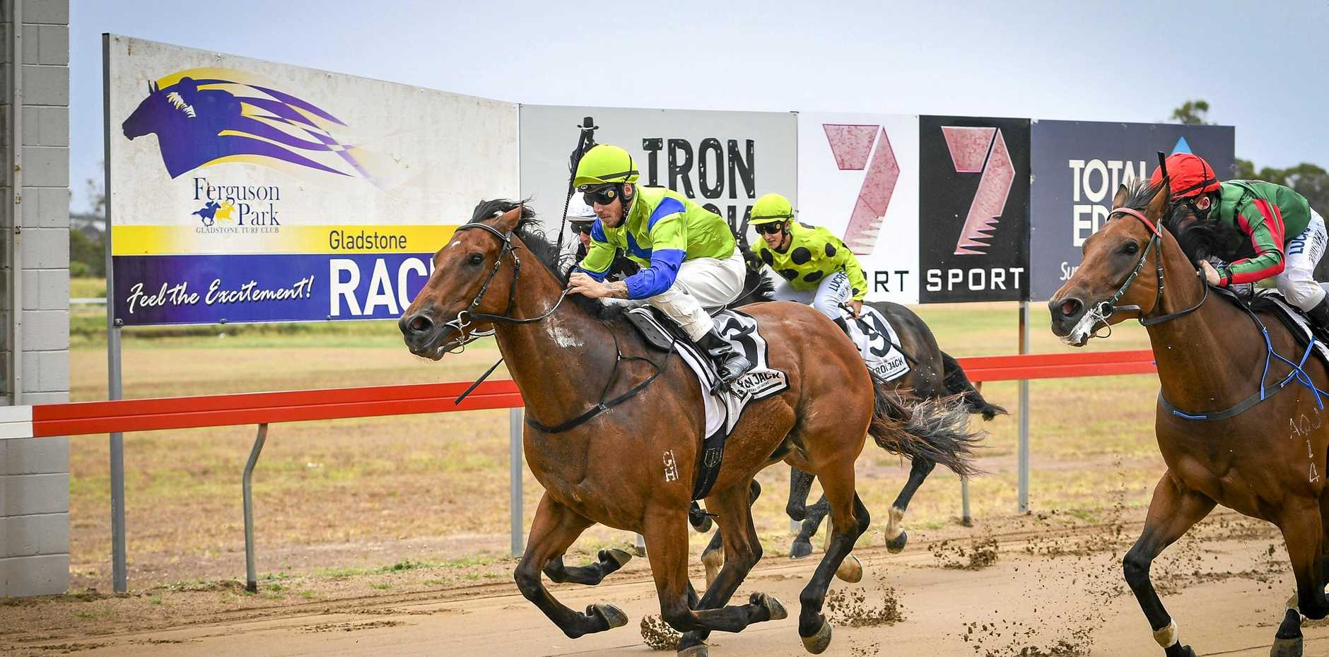 FIRST: Roma-based It's Wanted ridden by Wayne Baker won Race 1 at Gladstone Turf Club's March race day.