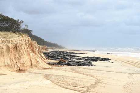 DENUDED DUNES: Erosion on Fraser Island's Eastern Beach after Cyclone Oma.
