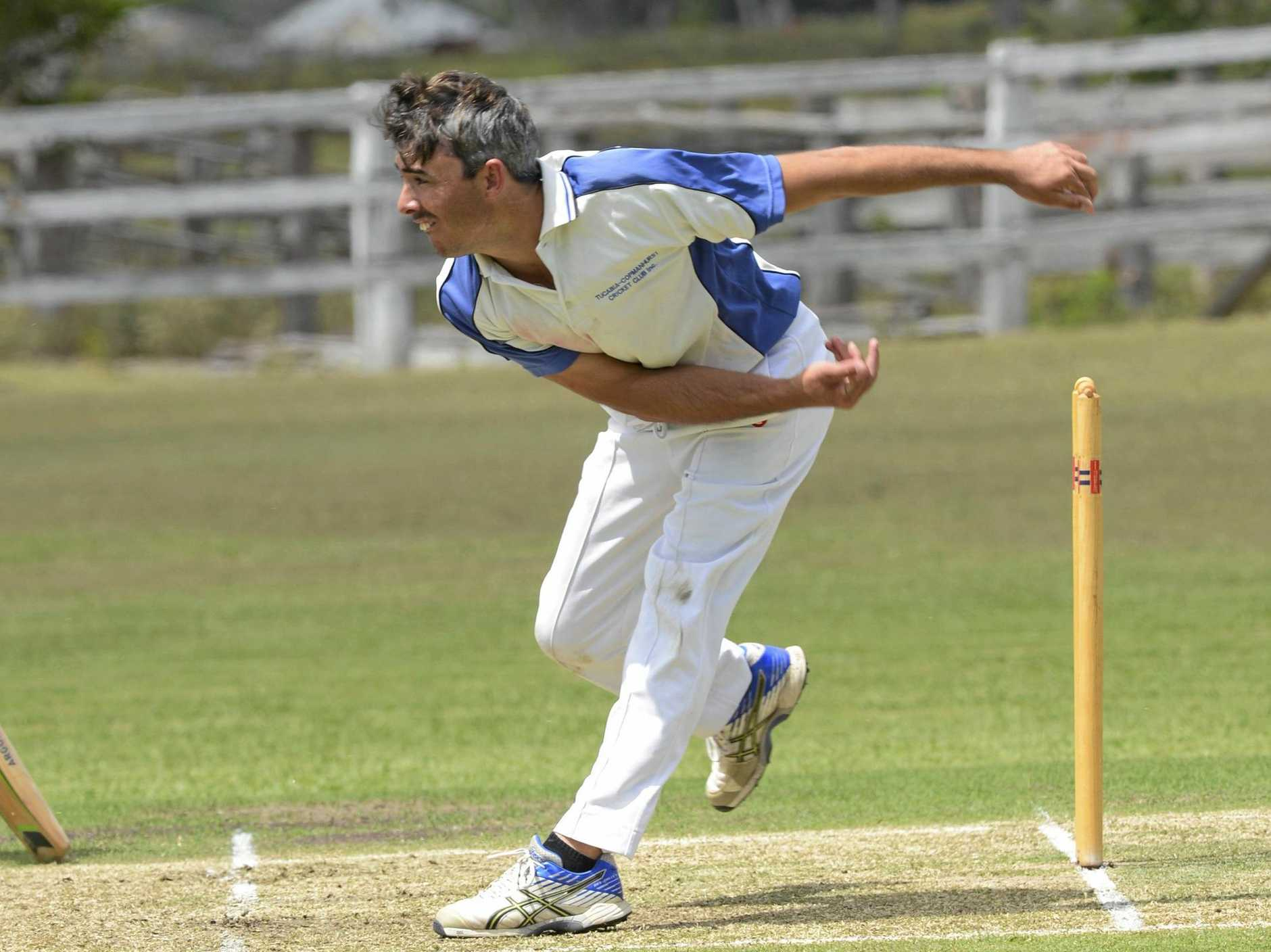 Tucabia bowler Billy Blanch during the CRCA Premier League cricket match between Coutts Crossing and Tucabia at Small Park, Ulmarra on Saturday, 25th February, 2017.