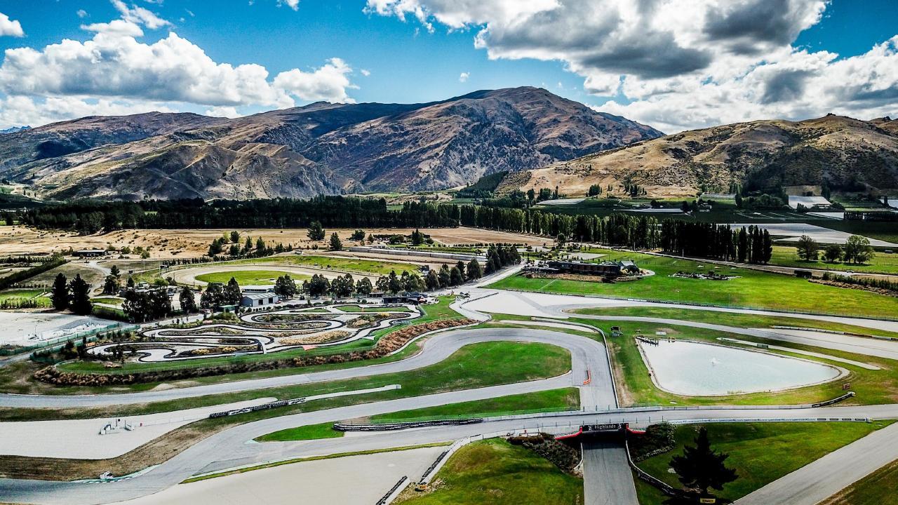 Lap of the gods: The Pisa Range looms over Highlands; go-kart track, centre left