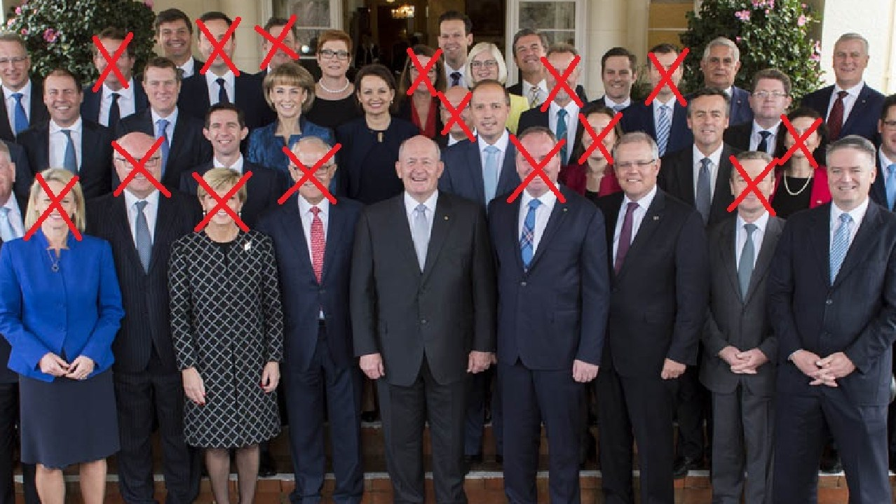 The Turnbull ministry in 2016. The crossed out faces have either left the ministry or are planning to leave parliament.