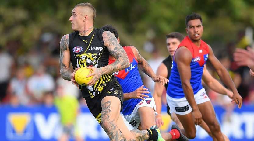 Richmond star Dustin Martin goes on the attack. Picture: Getty Images