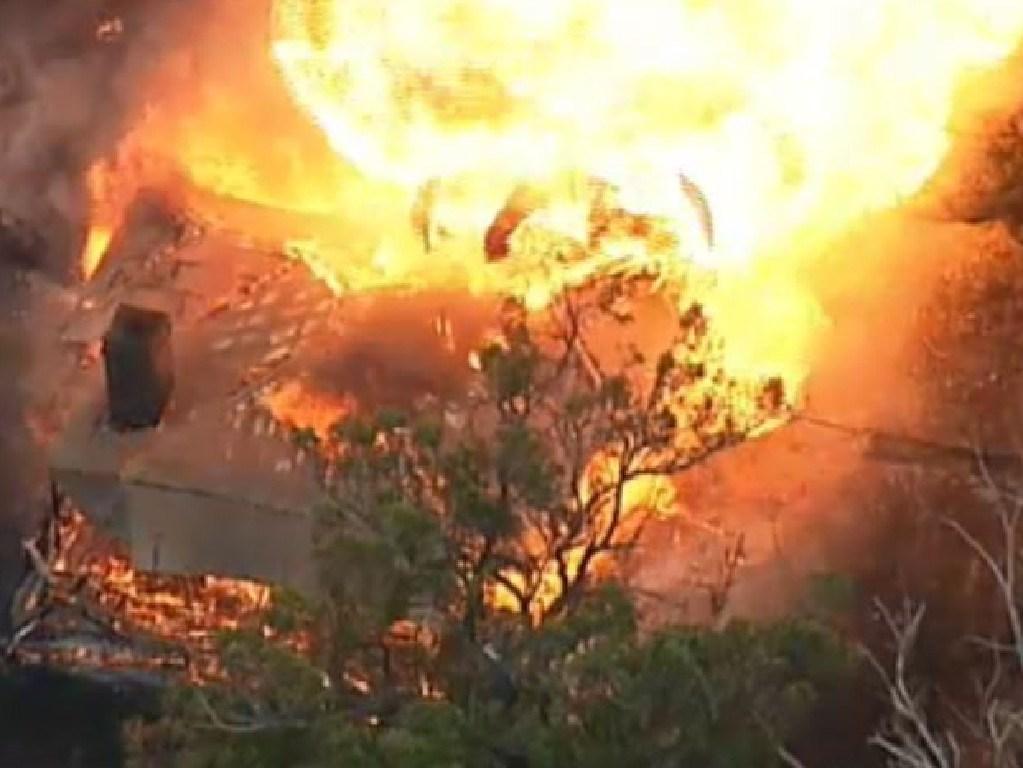 This Tonimbuk property explodes into a massive fireball. Picture: @DougalBeatty/Twitter