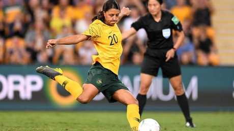 Sam Kerr held her nerve to give the Matildas the lead.