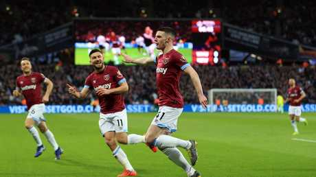 Declan Rice of West Ham United celebrates