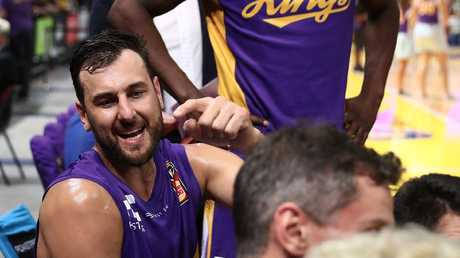 Andrew Bogut dishes out orders on the bench. Picture: Getty