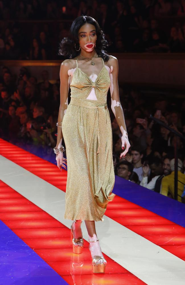 Saturday Night Fever! Winnie Harlow wearing TommyXZendaya. Picture: AP
