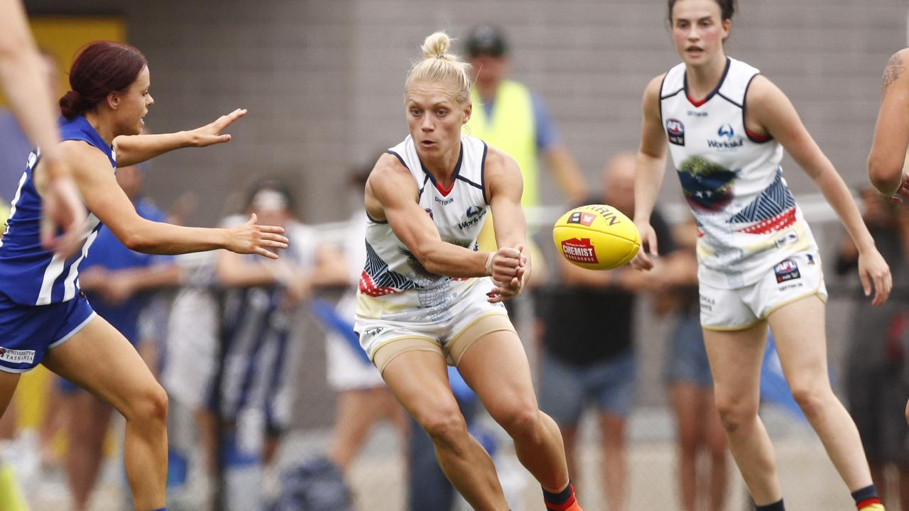 Adelaide's Erin Phillips fired off a handball. Picture: AAP