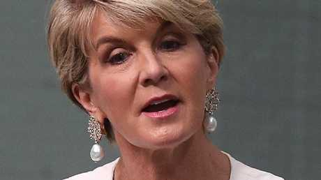 Julie Bishop announcing her decision to quit. Picture: Kym Smith