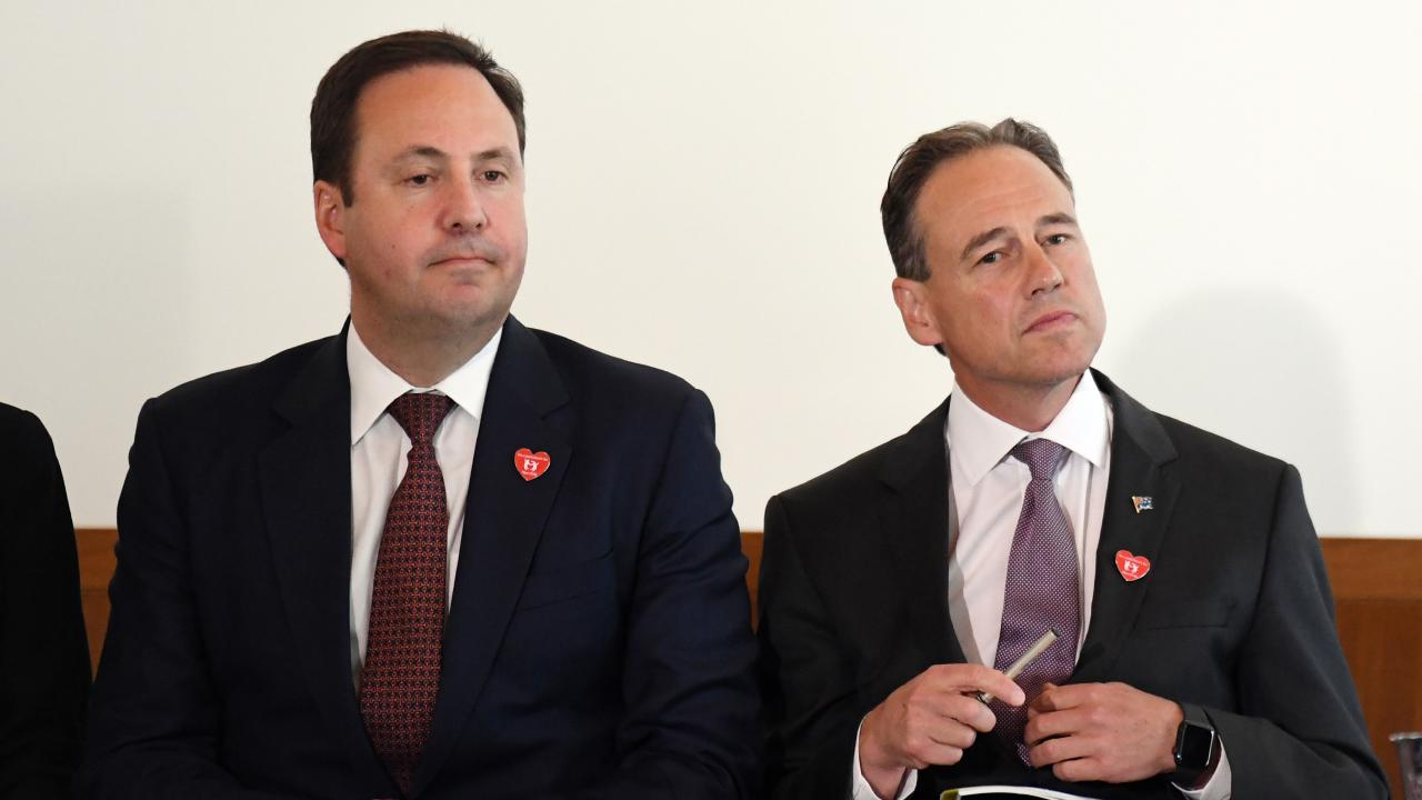 The Liberals could lose key conservatives including Greg Hunt, right. Steve Ciobo, left, has already announced he is leaving. Picture: AAP Image/Mick Tsikas