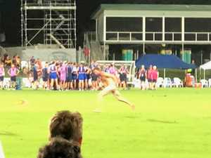 STREAKER: Bloke runs on field nude during AFL preseason match