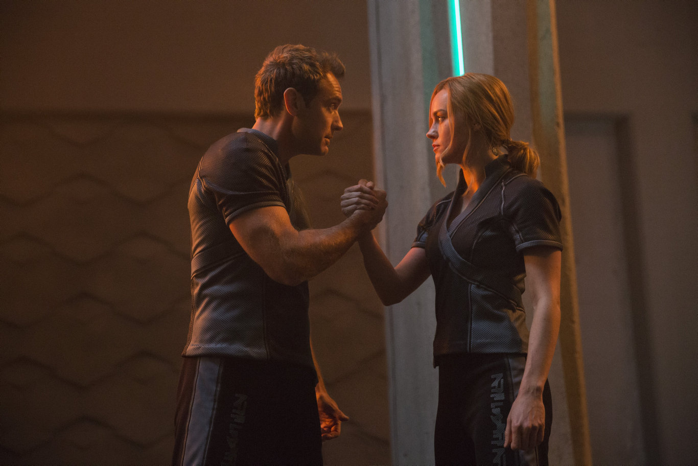 Jude Law and Brie Larson in a scene from Captain Marvel.