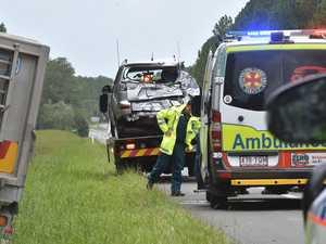 Two hospitalised after truck crash on major road