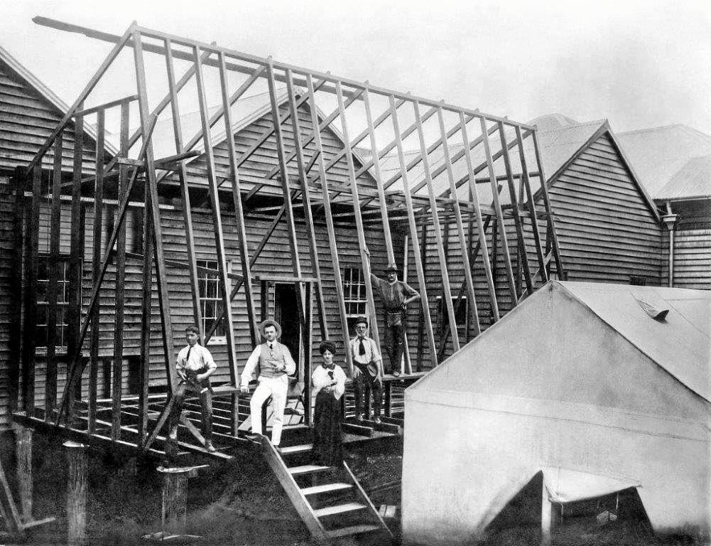 EARLY DAYS: Construction of the photographic studio section of Murray Views' original Mary St headquarters in 1908