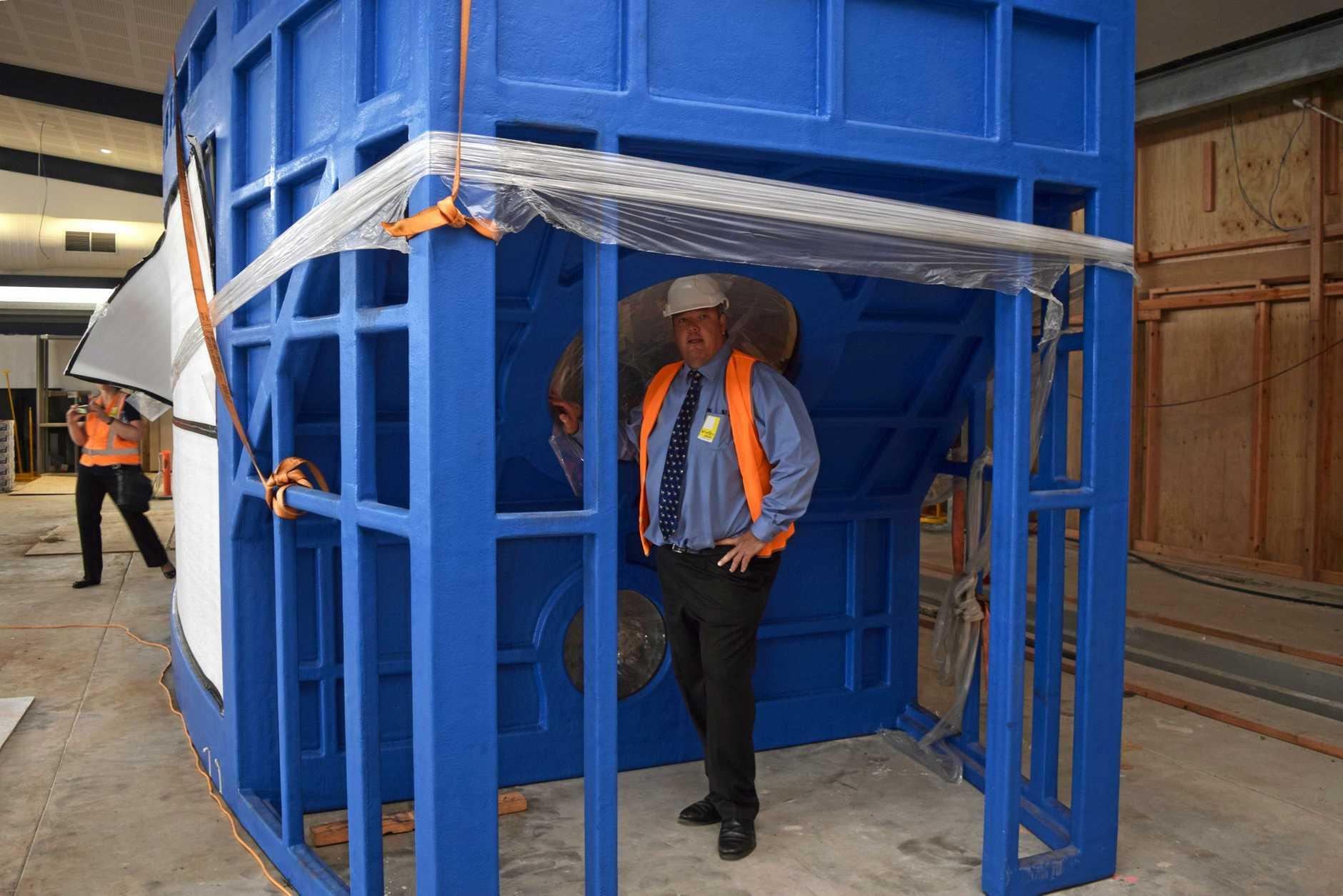 Mayor Andrew Willcox with the new aquarium at the Whitsunday Coast Airport.
