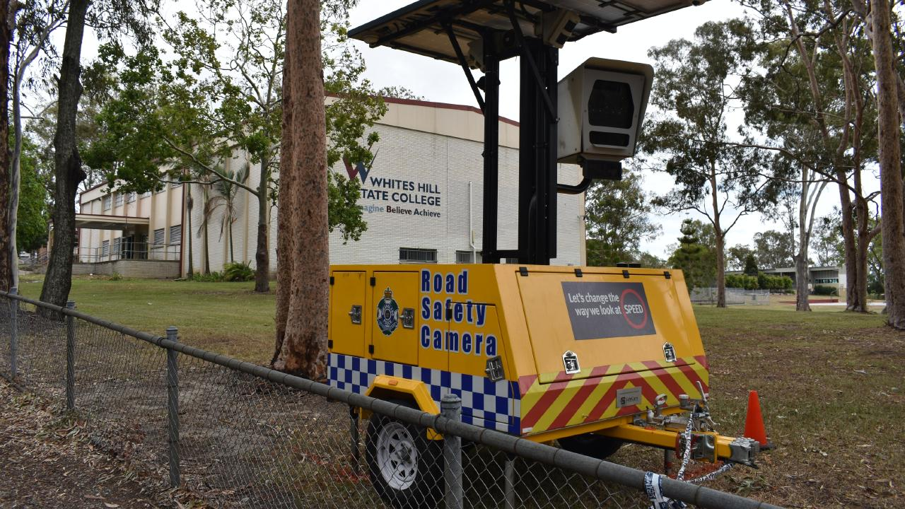 The mobile speed camera positioned inside the grounds of Whites Hill State College. Pictures: Brian Bennion