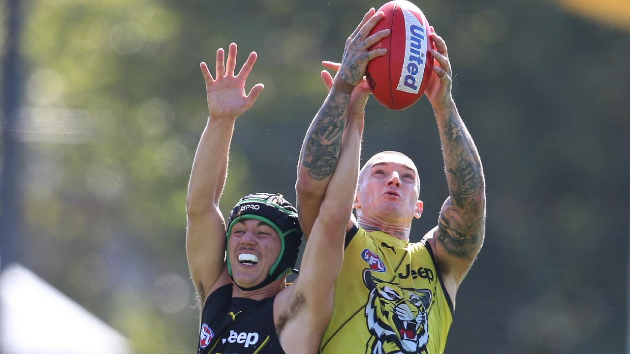 Dustin Martin will be close to goal at times alongside Tom Lynch and Jack Riewoldt. Pic: Michael Klein