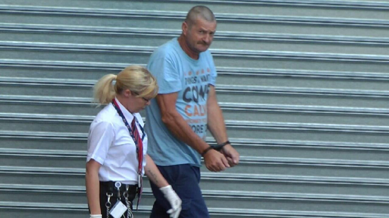 Gene Charles Bristow has been found guilty of raping and kidnapping a backpacker he lured to his pig farm. Picture: Nine News