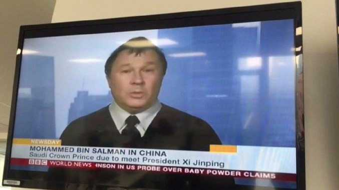 Stephen McDonell, BBC's China correspondent, moments before his broadcast was pulled from the air in China. Picture: Stephen McDonell,