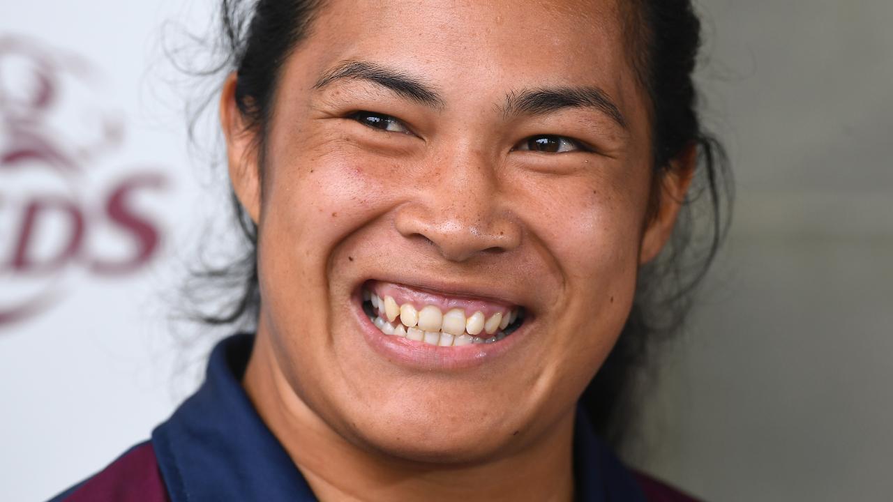 Queensland womens Prop Liz Patu. Queensland Reds players training at Ballymore in Herston. Thursday February 28, 2019. (AAP image, John Gass)