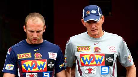Darren Lockyer (L) and Wayne Bennett developed one of the greatest partnerships in rugby league. Picture: Patrick Hamilton