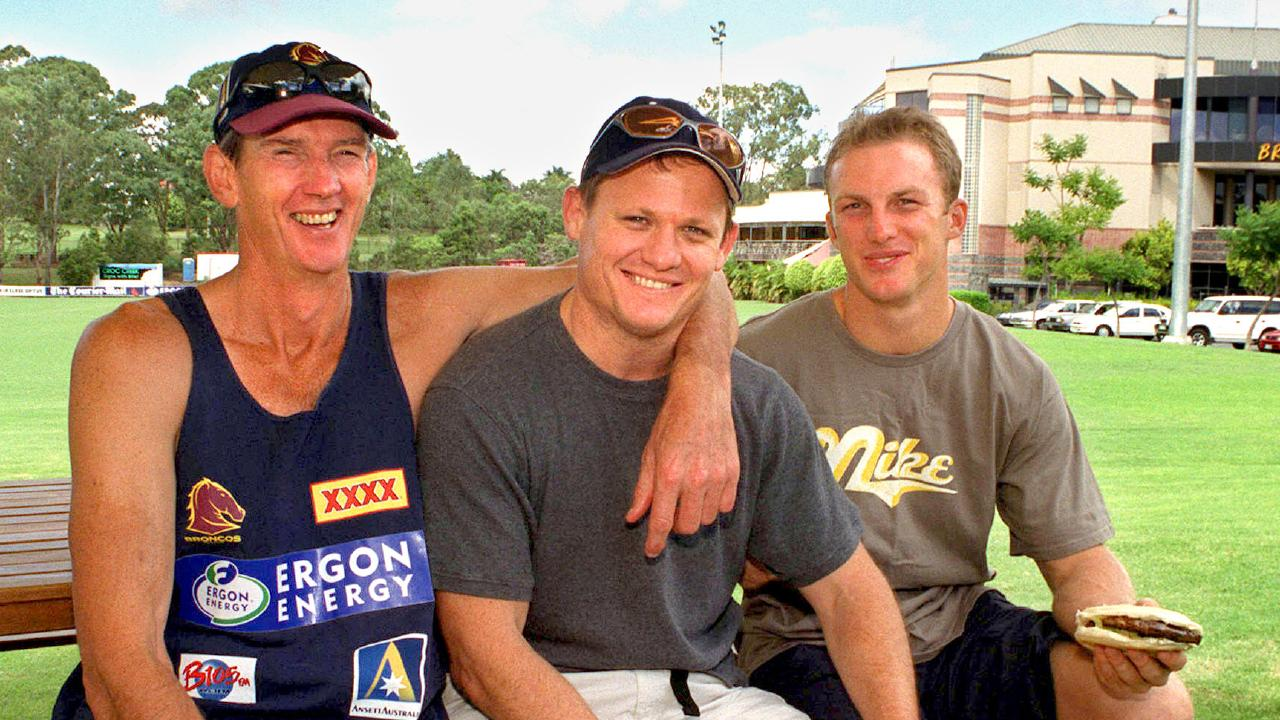 Wayne Bennett with Kevin Walters and Darren Lockyer at Red Hill in 2001. Picture: David Kapernick