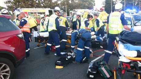The mother of a boy killed in the crash remains in an induced coma at Westmead Hospital. Picture: TNV