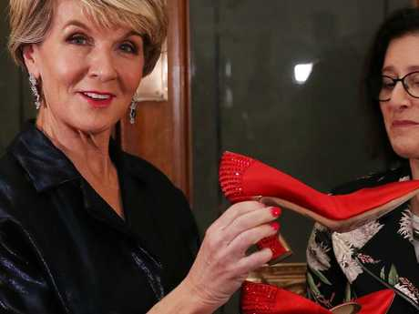 Julie Bishop donating the shoes to the Museum of Australian Democracy. Picture: Kym Smith