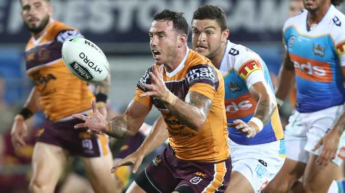 Darius Boyd had an unhappy night for the Broncos. Picture: Getty Images
