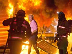 WATCH: Explosions as inferno takes over shed in Toowoomba