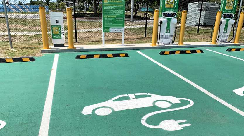 The electric vehicle charging station at Hamilton which is part of the Queensland Super Electric Highway.