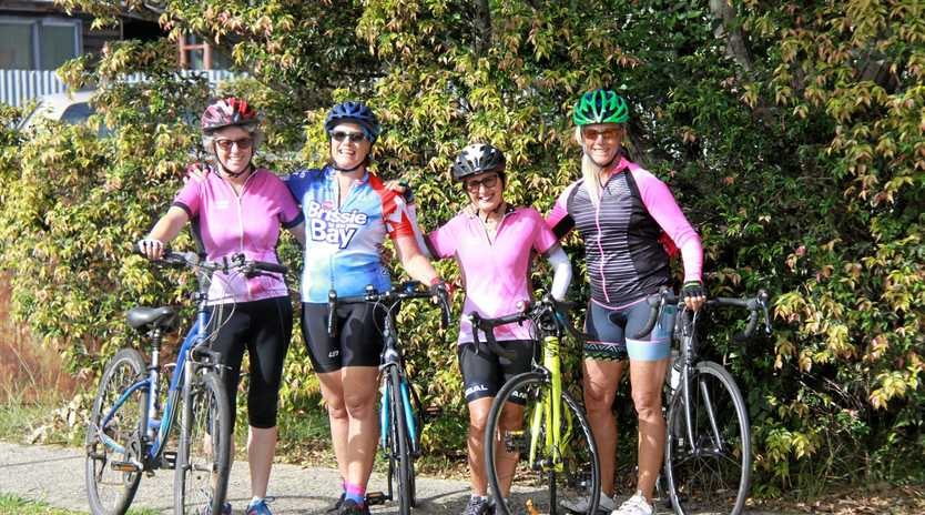 CYCLING SISTERS: Sue-Ellen Shortiss, Lee Keegan, Edda Simeonibb and Millie Havard Cooke.are ready to ride.
