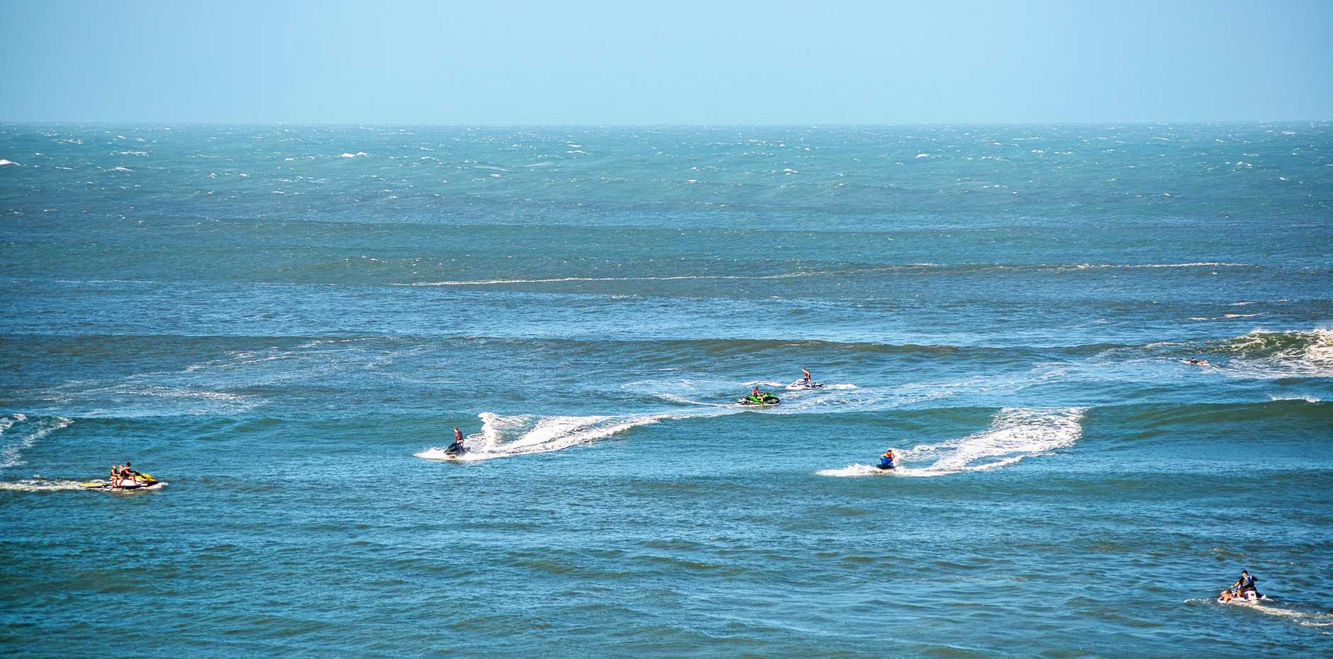 Is this what surfing Noosa's World Surfing Reserve should be about? Surfers paddling against a rip and the complete imbalance of a jet ski-dominated line up.