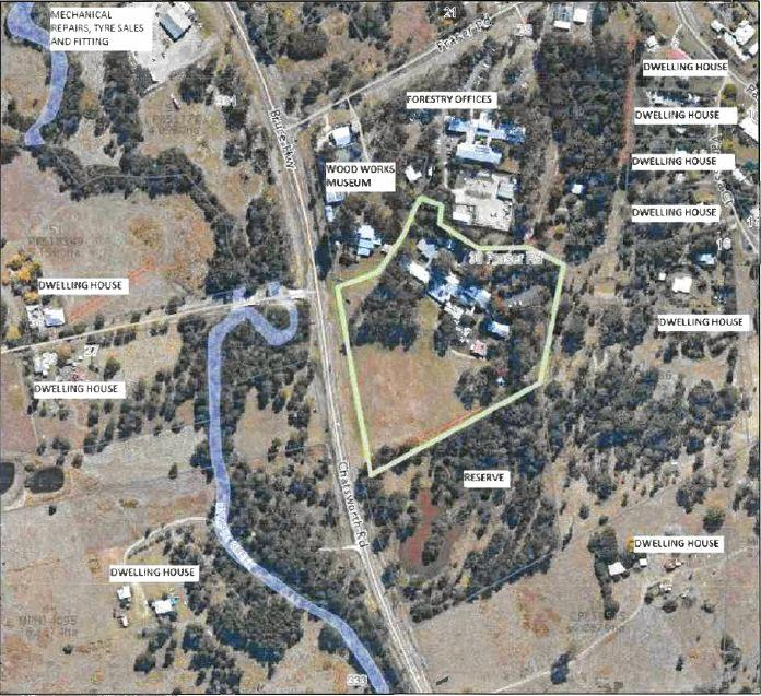 Aerial shot of the proposed development location.