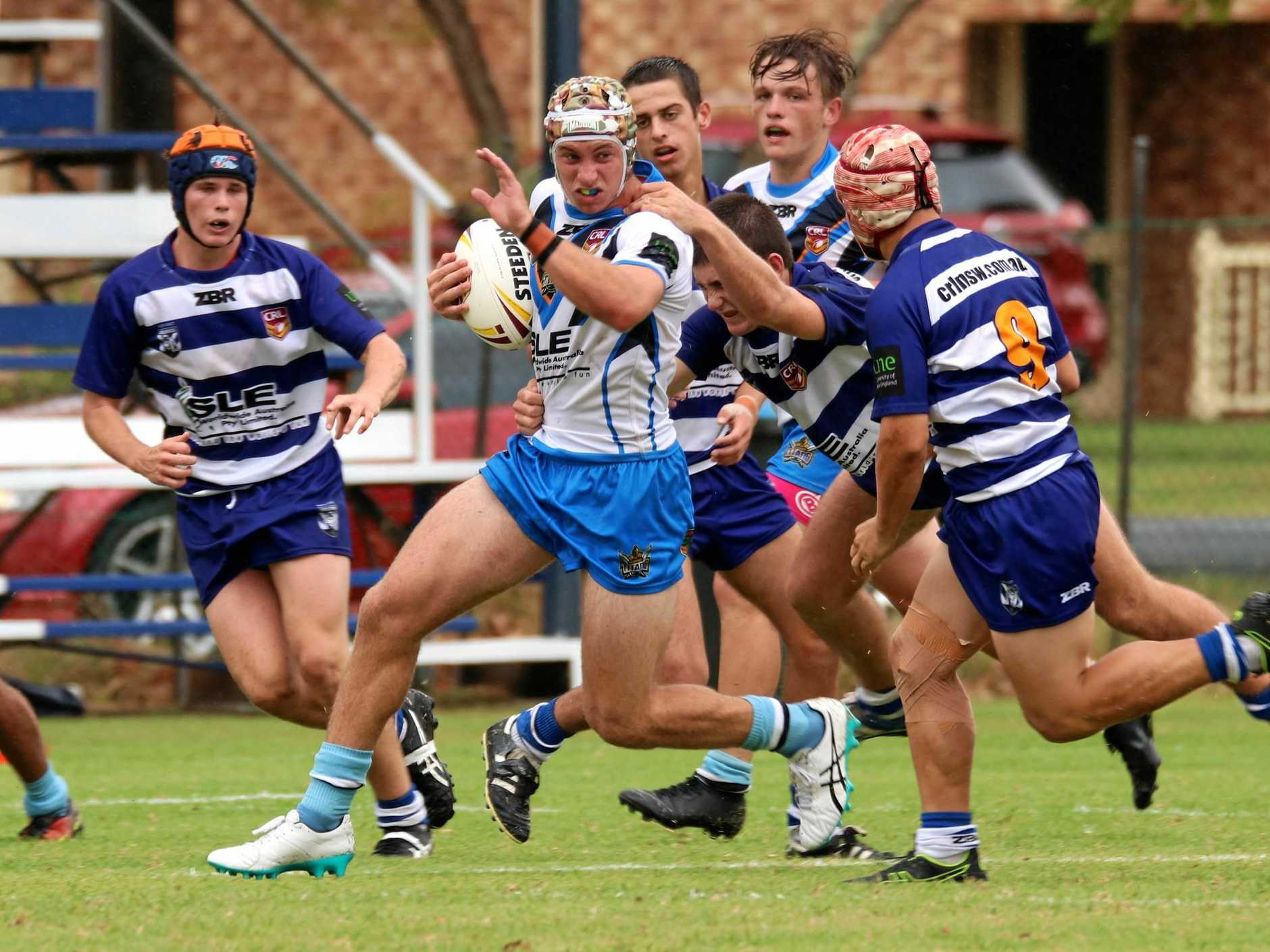 ON THE BURST: Titans five-eighth Riley Lack makes half a break during the Northern Rivers Titans and North Coast Bulldogs Andrew Johns Cup representative clash.