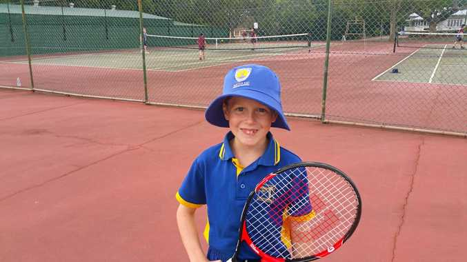 ON COURT: Harry Hadin was all smiles during Orange Ball tennis fixtures.