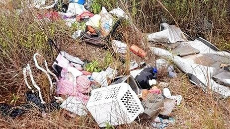 DISAPPOINTING: Rubbish found dumped on the Red Rover Rd dirt track on Saturday.