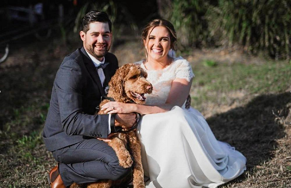 WEDDING DAY: John Litzow and Jacqueline Parr with their fur baby Duncan on their wedding day.