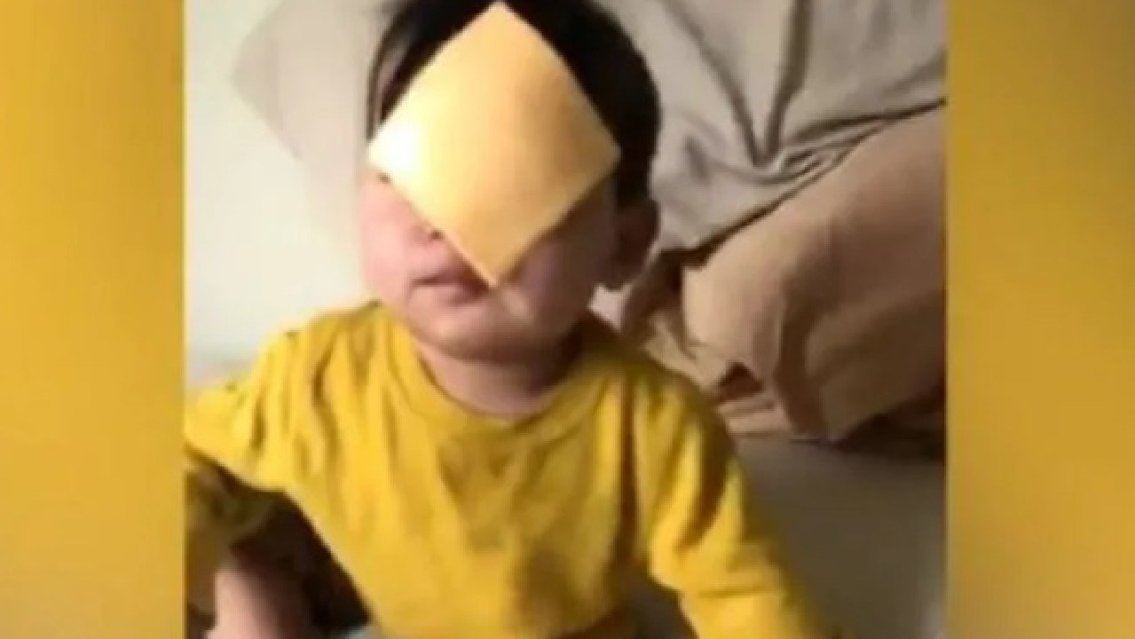 The Cheesed Challenge started when a woman threw a slice of cheese at her crying baby. Picture: Twitter