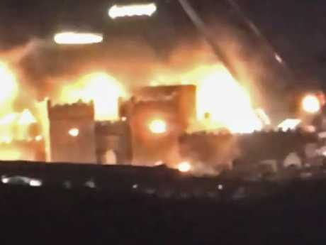 A blurry but significant photo showing the shooting of a Season 8 scene at Moneyglass Estate in Toome, Northern Ireland - the fortress of Winterfell. Courtesy: Watchers on the Wall.