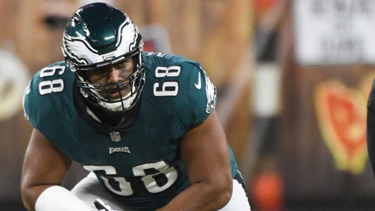 Jordan Mailata during a preseason clash last season. Picture: Getty