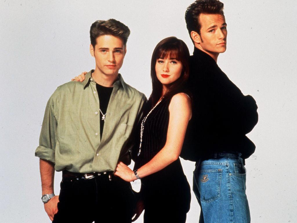 Luke Perry (right) who starred in Beverly Hills 90210, has died at the age of 51 after suffering a stroke lats week. Picture: Supplied