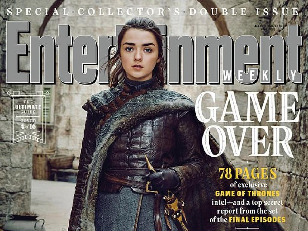 Arya Stark (Maisie Williams) on the cover of Entertainment Weekly magazine. Picture: Entertainement Weekly