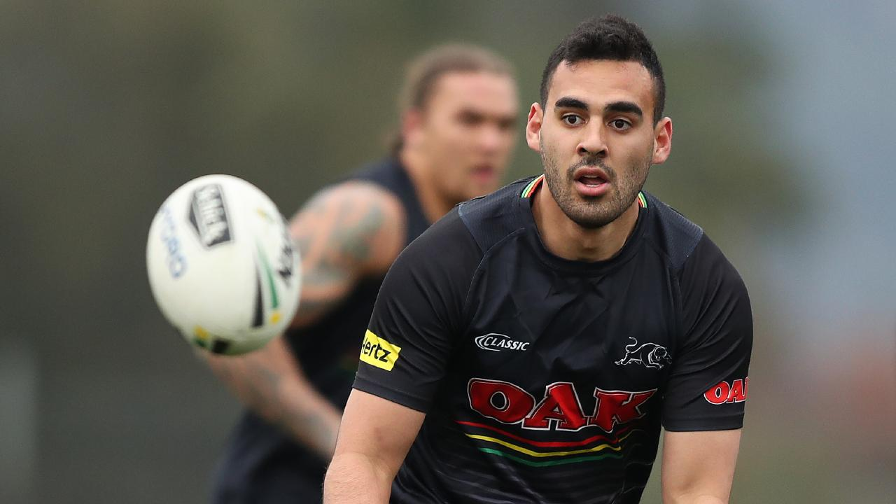 Penrith's Tyrone May during Penrith rugby league training at Panthers Rugby League Academy, Penrith. Picture: Brett Costello