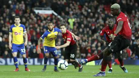 Pogba takes the shot … and misses. Picture: Martin Rickett