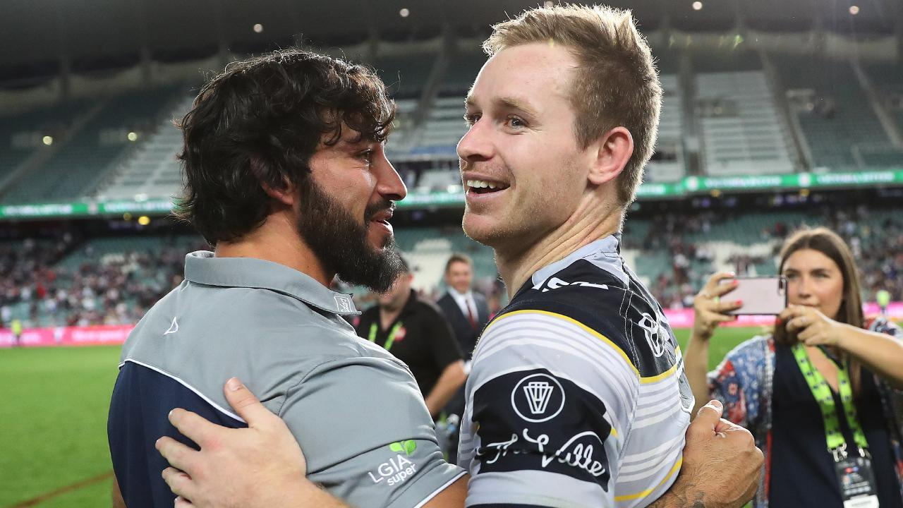 Johnathan Thurston believes Michael Morgan will be the next club captain. Picture: Brett Costello