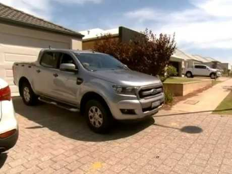 Mr Hill says the car takes up about 60cm of the footpath. Picture: 7 News