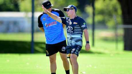 Cowboys coach Paul Green (right) with Steve Sheppard. Picture: Alix Sweeney