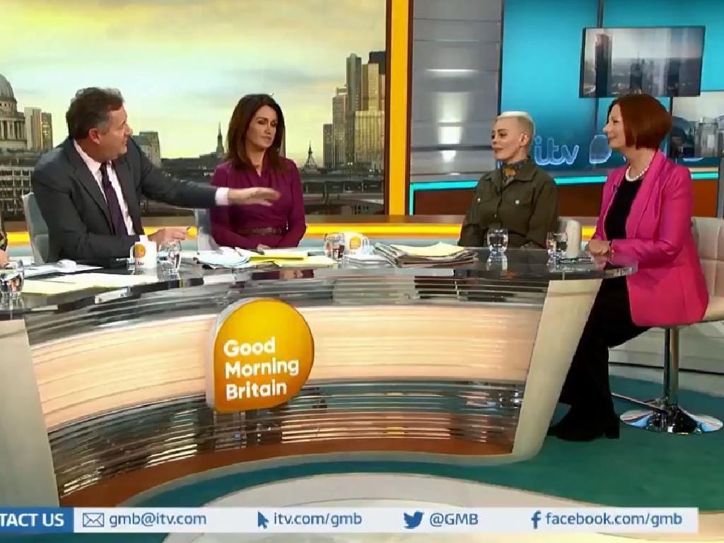Rose McGowan and Julia Gillard were interviewed by Piers Morgan about International Womens Day.