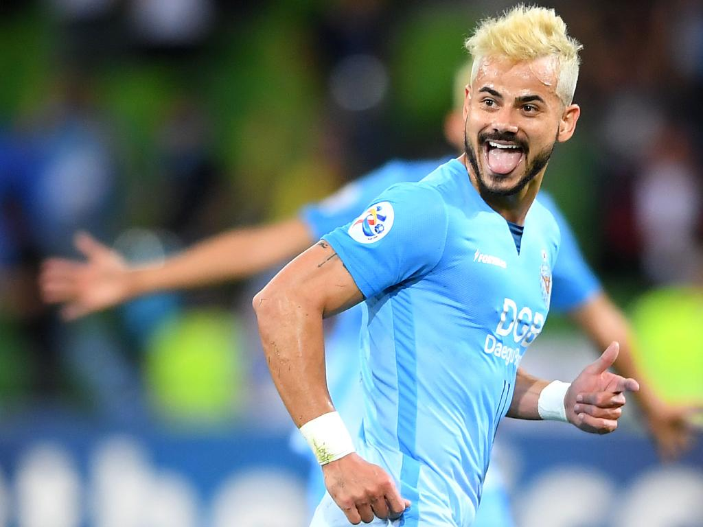 Cesar Fernando Melo of Daegu celebrates scoring a goal. Picture: Getty Images